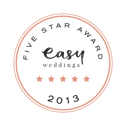 2013 Five-Star Supplier award on EasyWeddings.com.au