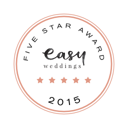 2015 Five-Star Supplier award on EasyWeddings.com.au